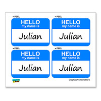 Julian Hello My Name Is - Sheet of 4 Stickers