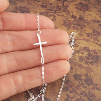 Tiny Little Sideways Cross Necklace / Dainty Sterling Silver Cross Necklace