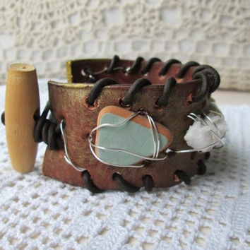 Recycled leather beach finds wrap cuff bracelet, Vintage leather cuff, Sea glass, White Coral, Shell, bracelet, Boho jelwery, Beach jewelry