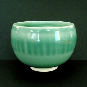 Porcelain bowl, green bowl, serving bowl, handmade, ceramic bowl, high fired