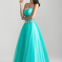 Night Moves 6658 Aqua Ball Gown