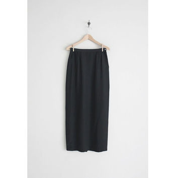 black silk skirt / midi skirt / high waist skirt