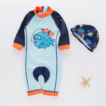 Nyan Cat summer baby boy fish swimwear+hat 2pcs set swimming suit infant toddler kids children swimwear diving clothing costume