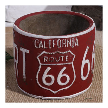 Vintage America 66 Route Car Plate Ashtray Succulent Pot   red