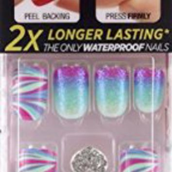 "**NEW 2015** KISS imPRESS ""WINK WINK"" 2x Longer Lasting Short Nails by Broadway Press-On Manicure Nails"