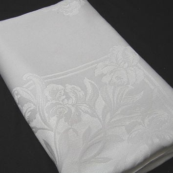 Vintage 1970s White Damask Linen Tablecloth, 80 x 59 Inches, Iris Pattern, ~~by Victorian Wardrobe