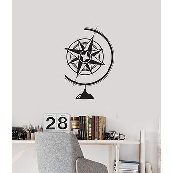 Vinyl Wall Decal Globe Compass Geography School Classroom Interior Stickers Mural (ig5776)