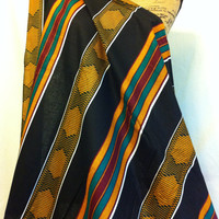 African KENTE Style Print Fabric by the HALF YARD--Black, Gold, Green, Maroon Striped