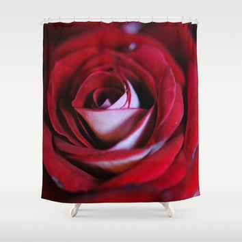 Red Rose Center Shower Curtain by Blooming Vine Design