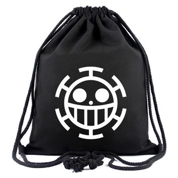 Anime Backpack School Hot Style One Piece Drawstring Bags Canvas Backpack for Teenager Men Women Organizer Pouch Japanese kawaii cute Cartoon Drawstring Bag AT_60_4