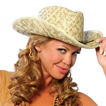 Sexy Farmer Cowgirl Straw Hat Halloween Accessory