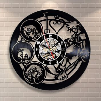 Kingdom Hearts Anime Vinyl Record Design Wall Clock - Decorate your home with Modern Kingdom Hearts Story Characters Art - Best