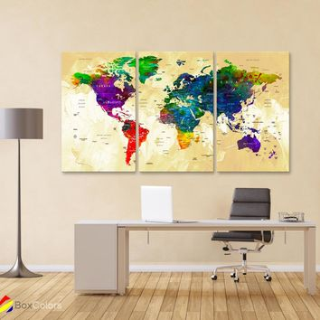 "LARGE 30""x 60"" 3 panels 30x20 Ea Art Canvas Print Watercolor Map World Push Pin Travel M1825"