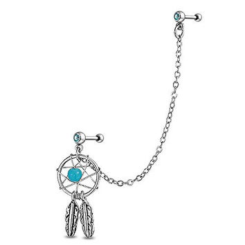 Bling Jewelry 316L Steel Simulated Turquoise Dream Catcher Chain Cartilage Earring