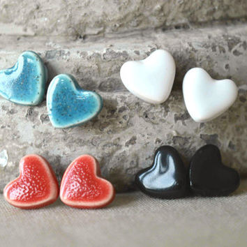 Heart studs, ceramic stud earrings, heart jewellery, Valentines gift for her