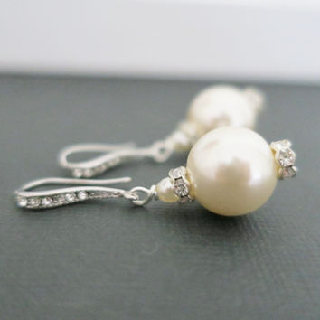 Large Pearl Drop Earrings, Wedding Jewelry Crystal Bridal Earrings