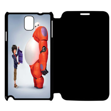Funny Hiro Hamada and Baymax Big Hero 6 Samsung Galaxy Note 4 Flip Case Cover