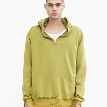 Pigment Dyed Full Zip Hoodie in Burnt Lime Green