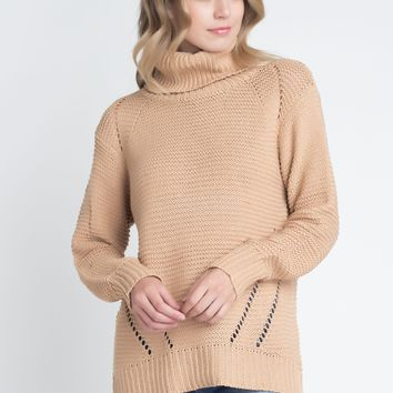 Women's Loose Fit Hi-Low Turtleneck Sweater