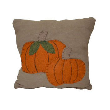 Pumpkin Pillow, Primitive Pumpkin Pillow, Wool Felt Pillow, Applique Pumpkin Pillow, Fall Pillow, Fall Decor, Shelf Sitter, Gift for Her