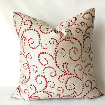 Christmas Pillow Cover - One, 18 x 18, Red Gold Pillows, Red Swirl Pillows, Elegant Christmas Decor, Christmas Pillows, Metallic Gold Pillow