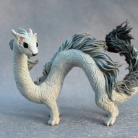 Ermine Eastern Dragon Spirit Elemental Fantasy Figurine Dragon Sculpture Fantasy Animal Creature