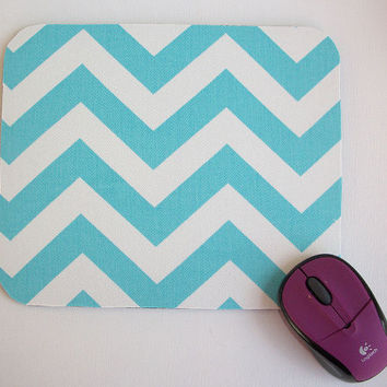Mouse Pad mousepad / Mat - Rectangle -  Blue Chevron - Zig zag