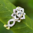 LOVE IN BLOOM - Solid Platinum - Unique Flower Lotus Rose Diamond Engagement or Right Hand Ring -fL03
