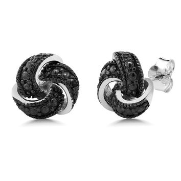 Women's Black Diamond Knot Antique Style Stud Earrings