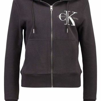 PEAPUF3 CK Calvin Klein Fashion Sport Leisure Zip Cardigan Jacket Coat Sweatshirt Black