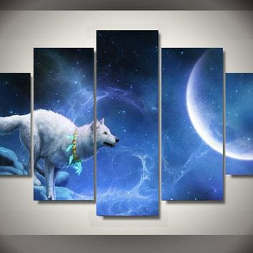 Nice White Wolf Moon 5 Piece Group Wall Painting Home decor wall poster picture canvas room wall Art Picture Paint Unframed