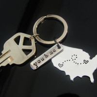 USA KEY CHAIN Long Distance Love Relationship with Stamped Aluminum Tag   Hand Stamped Key Chain