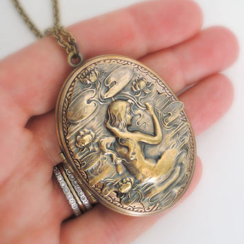 Mermaid Necklace - Locket Necklace - Art Nouveau Locket -  Mermaid Jewelry - Brass jewelry - Large Locket - handmade jewelry