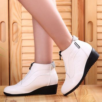 Autumn Winter Boots Women Ankle Boots Shoes Woman Fashion Wedges Heels Woman Boots High Quality Leather Shoes Female zip