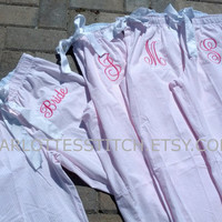 Monogrammed Bridal Party Pajamas - Pink or Blue Seersucker