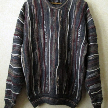 Coogi style oversized sweater - vintage crewneck sweater - Cosby sweater - large - grey brown burgundy