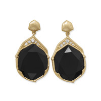 Ornate Gold Tone Fashion Earrings with Black Acrylic