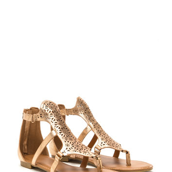 Exotic Trip Metallic Cut-Out Sandals
