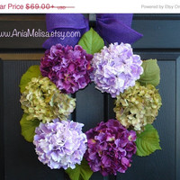 WREATHS ON SALE summer wreath front door wreaths purple hydrangea front door decorations hydrangea wreaths gift ideas