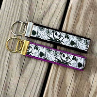 Jack Skellington, The Nightmare Before Christmas Inspired Keychain, Key Fob, Wristlet, Key Holder