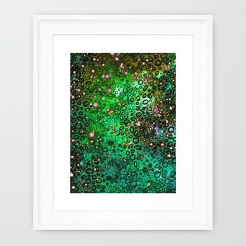 RAINBOW DOTTY OCEAN 3 Green Lime Ombre Space Galaxy Colorful Polka Dot Bubbles Abstract Painting Art Framed Art Print by EbiEmporium