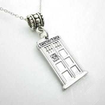 Tardis Necklace, Doctor Who Necklace, Police Box Necklace, Silver Tardis Charm, Fits P