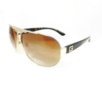 GUESS Aviator Sunglasses GUF 105 GLTO 34 GoldW/Light Brown Lens