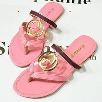 GUCCI Fashion Summer Women Casual Flat Sandal Slipper Shoes(3-Color) Pink