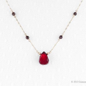Gold filled, Red Quartz Briolette, Garnet Necklace 'So Berry'