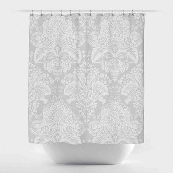 Daisy Damask-Grey and White
