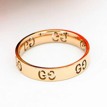 GUCCI Fashion Women Retro Rose Golden Titanium Steel Hollow GG Letter Ring I12933-1