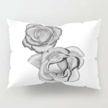 Grey Roses Pillow Sham by drawingsbylam