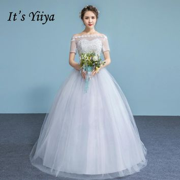 It's YiiYa Off White Hot Boat Neck Short Sleeve Wedding Dresses Simple Pattern Beading Appliques Embroidery Wedding Gown A627