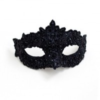 Women's Luxury Black Beaded Embellished Venetian Masquerade Mask - MB - Masque Boutique